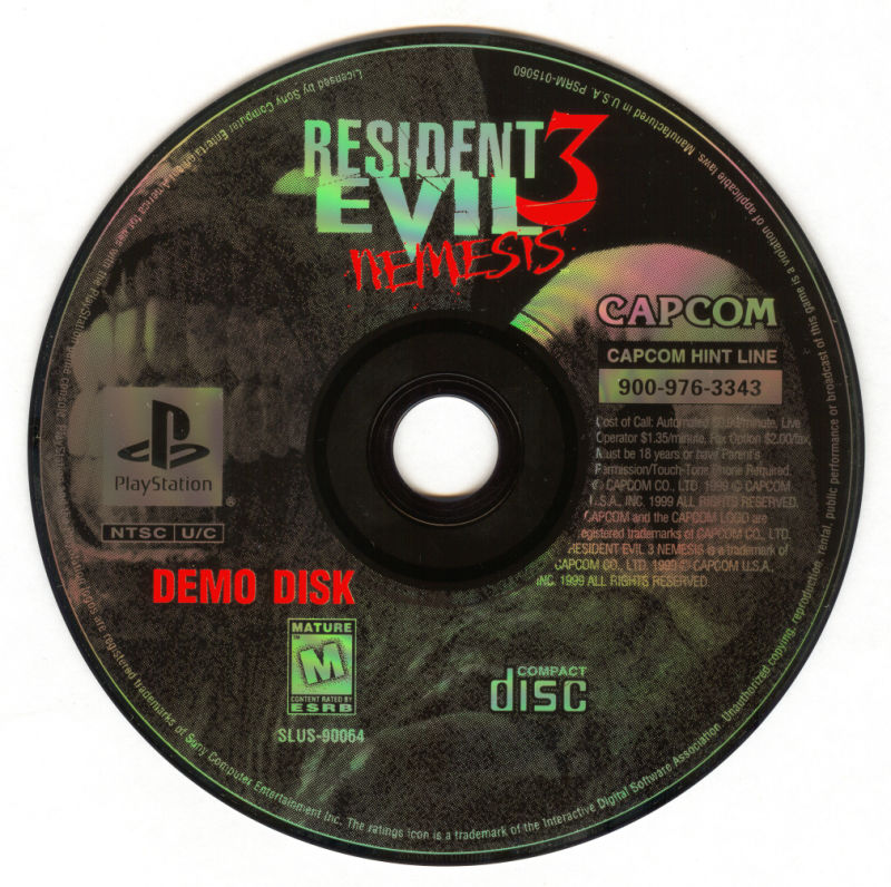 Dino Crisis PlayStation Media RE3 Demo Disc
