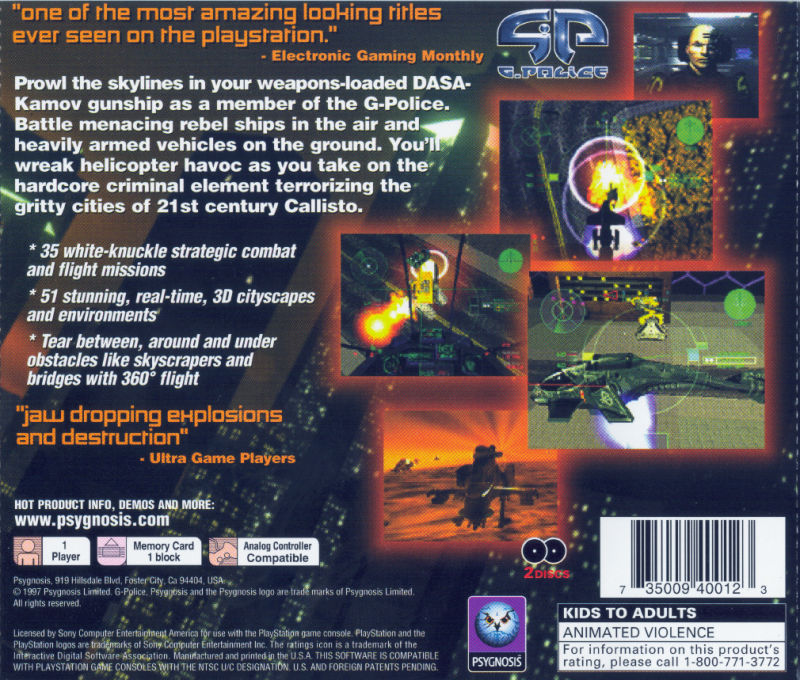 G-Police (1997) PlayStation box cover art