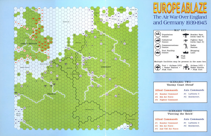 Europe Ablaze Commodore 64 Extras Battle Map - Front