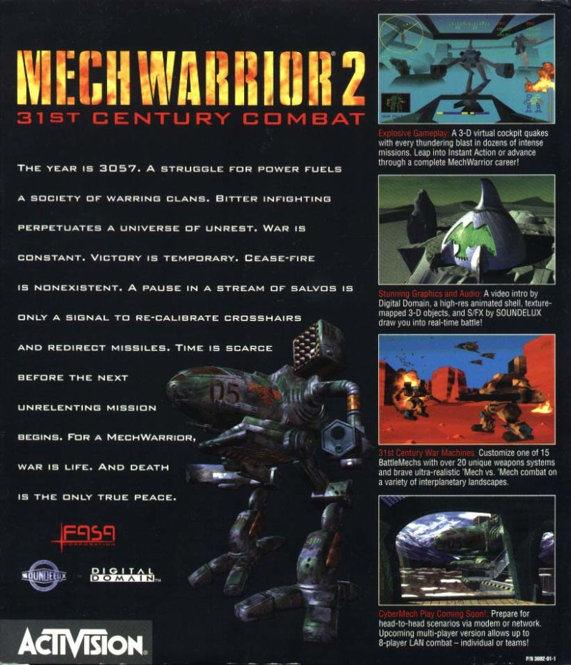 MechWarrior 2: 31st Century Combat Windows Back Cover