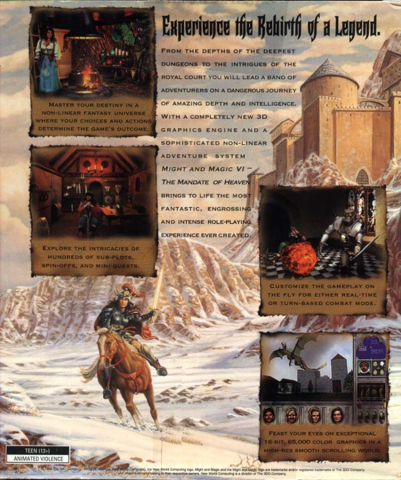 Might and Magic VI: The Mandate of Heaven Windows Back Cover