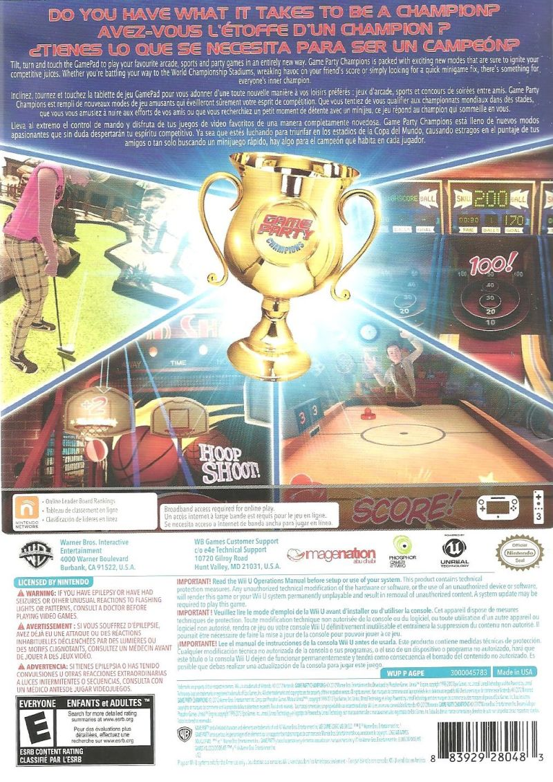 Game Party: Champions Wii U Back Cover