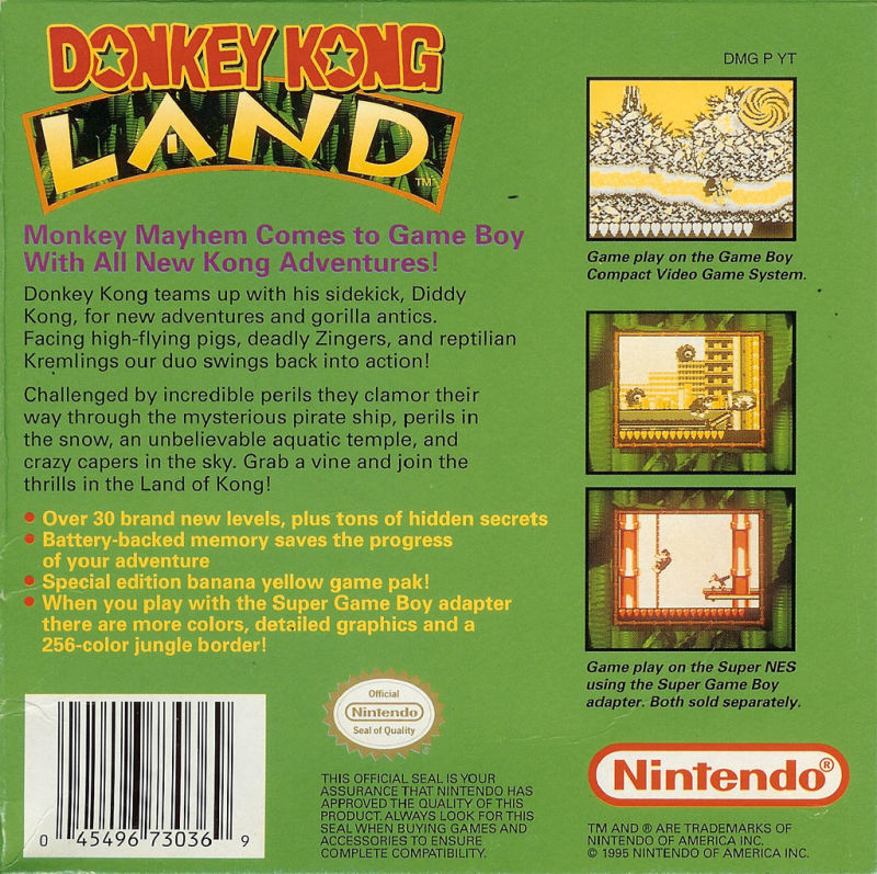 Donkey Kong Land Game Boy Back Cover
