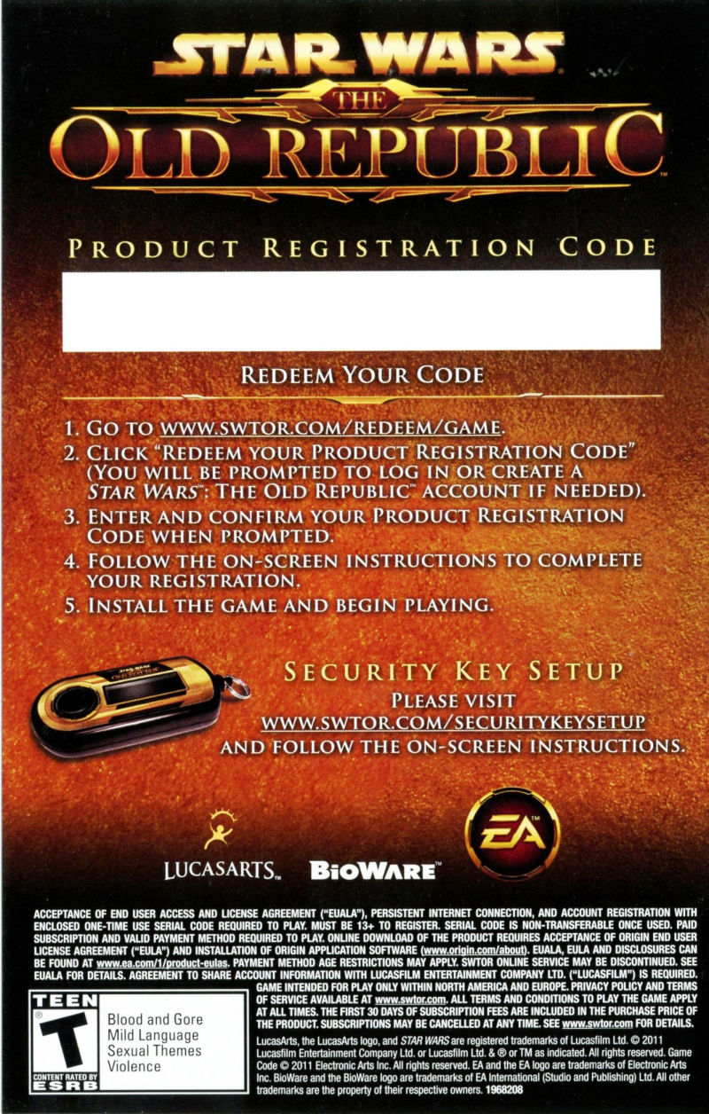 Star Wars: The Old Republic (Collector's Edition) Windows Extras Registration