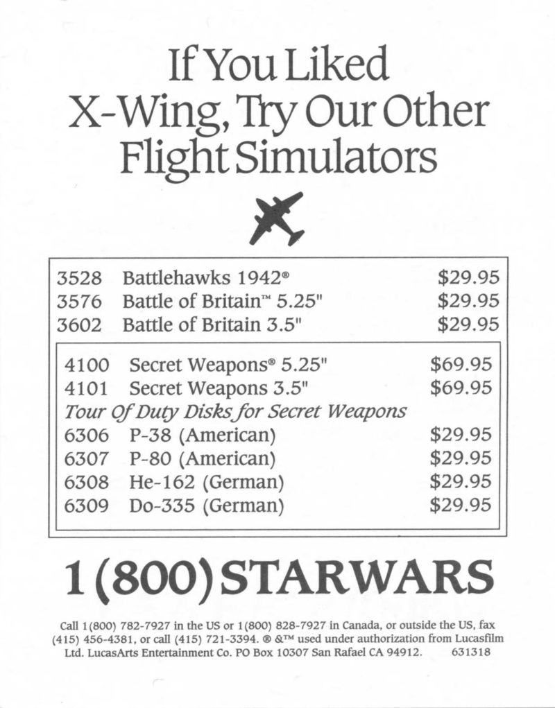 Star Wars: X-Wing DOS Advertisement Flight Simulators - Front