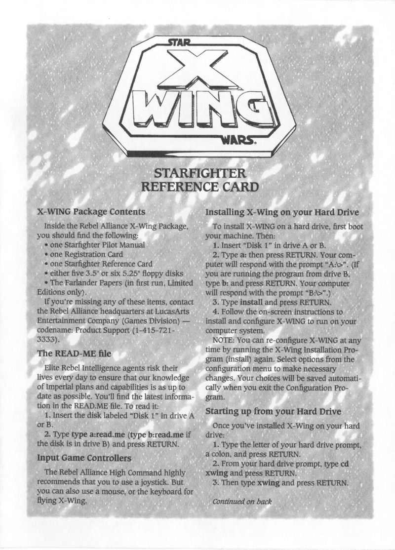 Star Wars: X-Wing DOS Reference Card Front