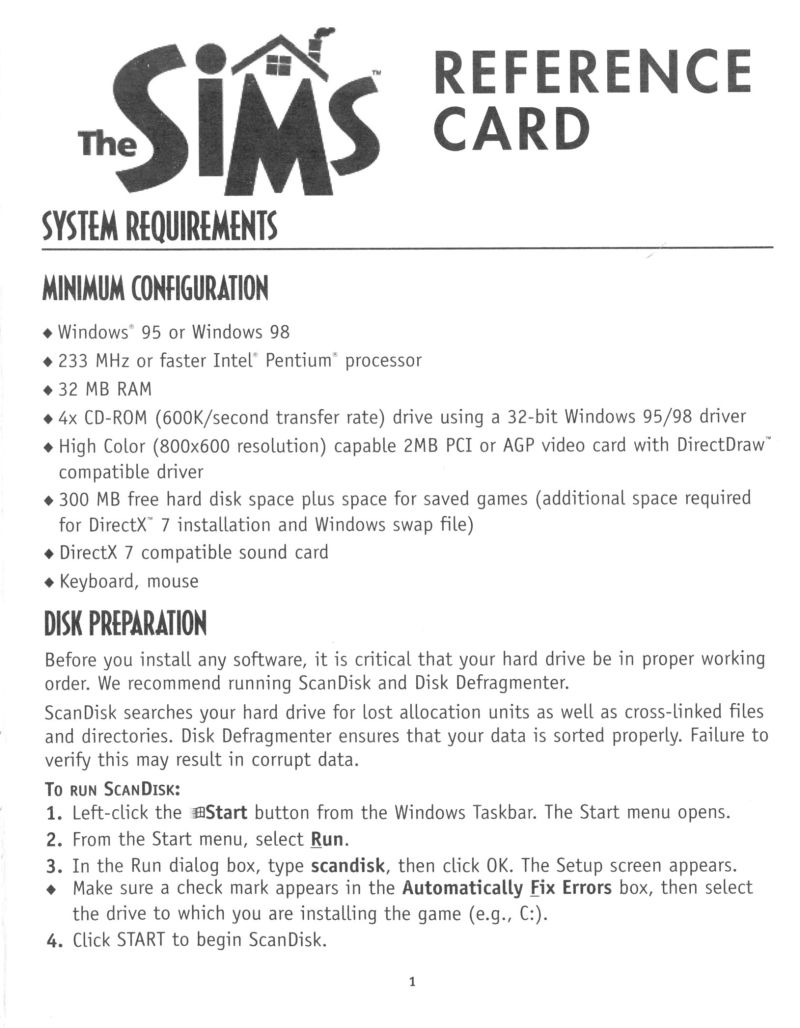 The Sims Windows Reference Card Front