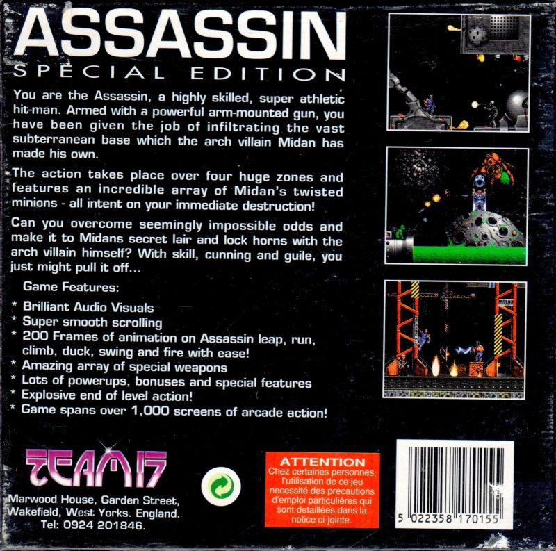 Assassin: Special Edition Amiga Back Cover