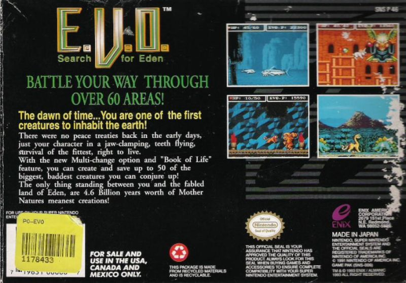 E. V. O.: Search for Eden SNES Back Cover
