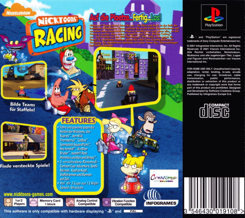 Nicktoons Racing (2003) Arcade box cover art - MobyGames