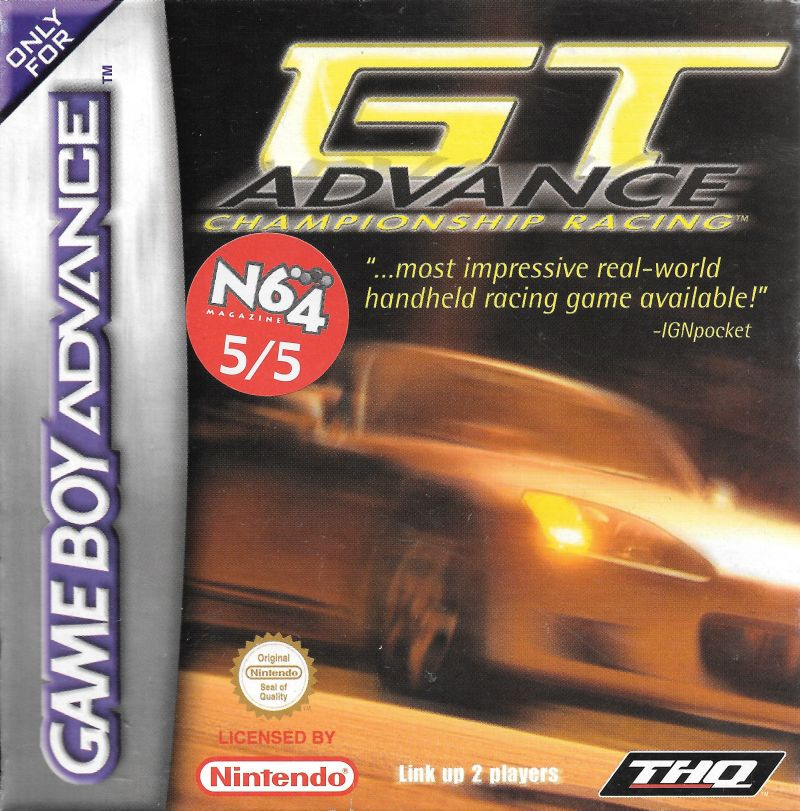 GT Advance Championship Racing Game Boy Advance Front Cover