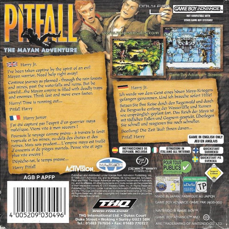Pitfall: The Mayan Adventure Game Boy Advance Back Cover