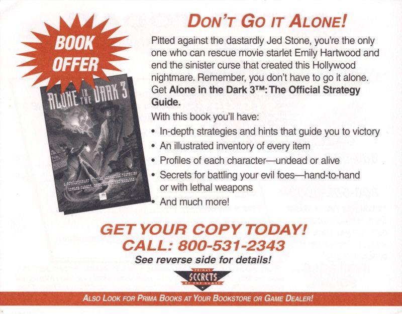 Alone in the Dark 3 DOS Advertisement Strategy Guide - Back