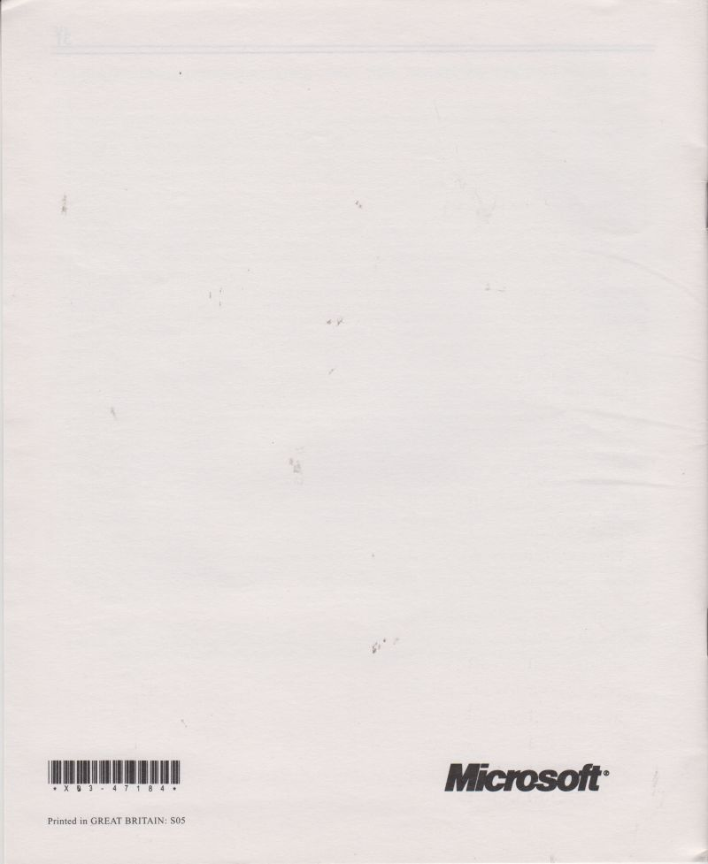 Microsoft Combat Flight Simulator: WWII Europe Series Windows Extras Limited Warranty booklet - Back