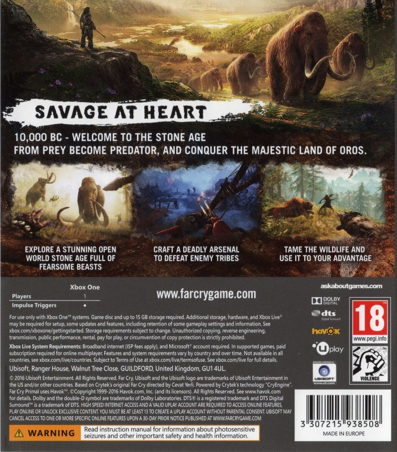 Xbox One Game Cover Back Far Cry: Primal (2016)...