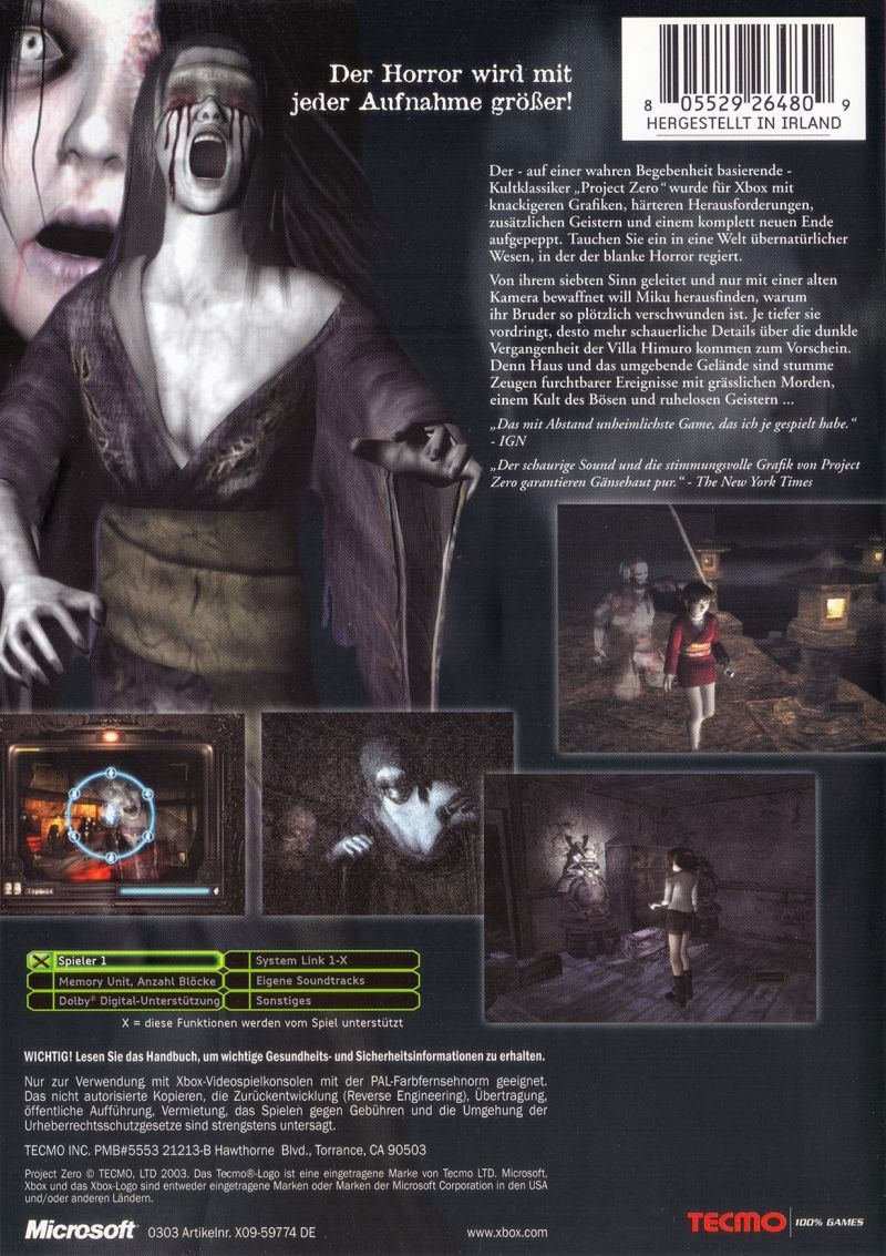 Fatal Frame (2002) Xbox box cover art - MobyGames