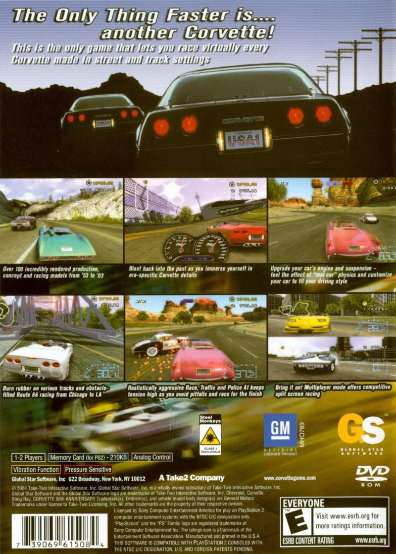 Corvette PlayStation 2 Back Cover