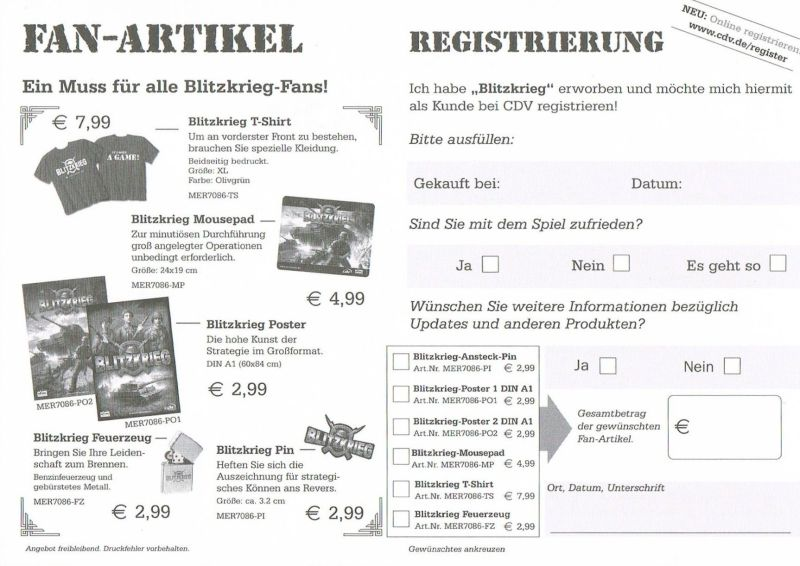 Blitzkrieg Windows Extras Registration Card - Front