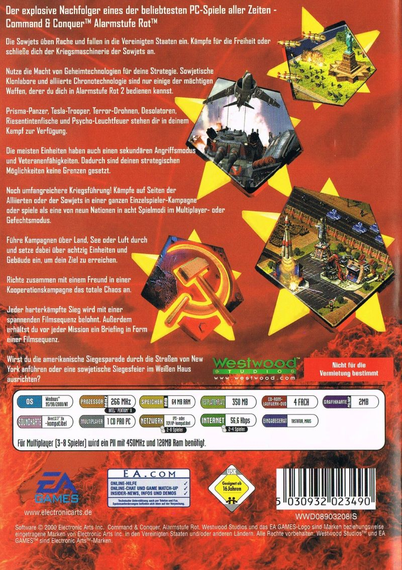 Command & Conquer: Red Alert 2 Windows Back Cover