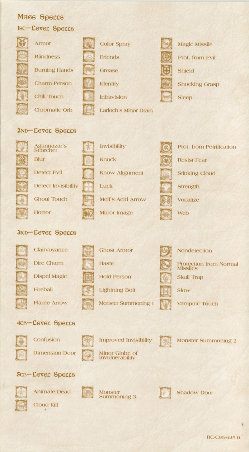 Baldur's Gate Windows Reference Card Back