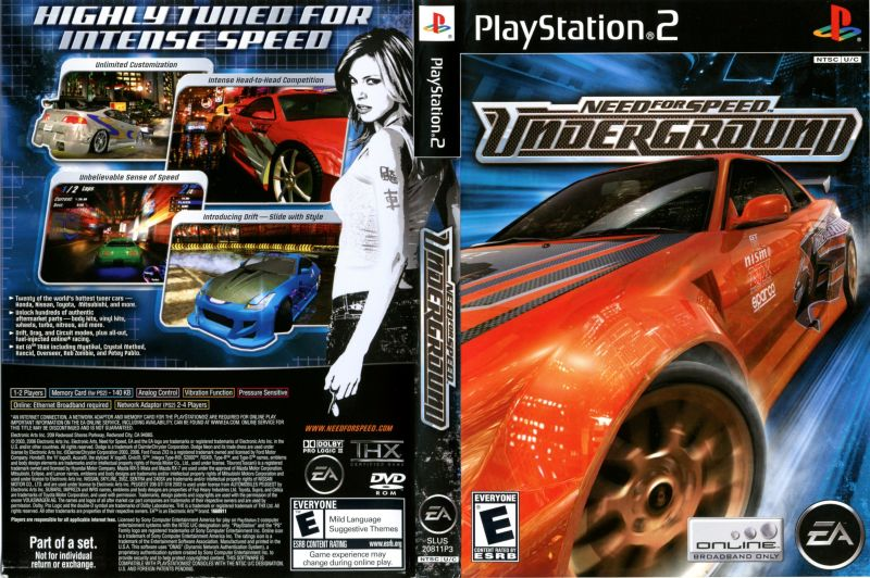 need for speed underground  2003  gamecube box cover art PlayStation Manual ps2 games manual