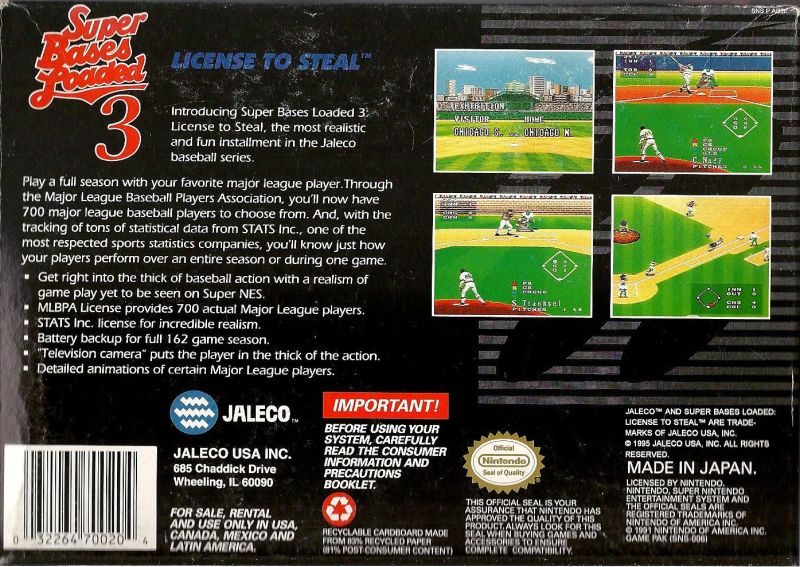Super Bases Loaded 3: License to Steal SNES Back Cover