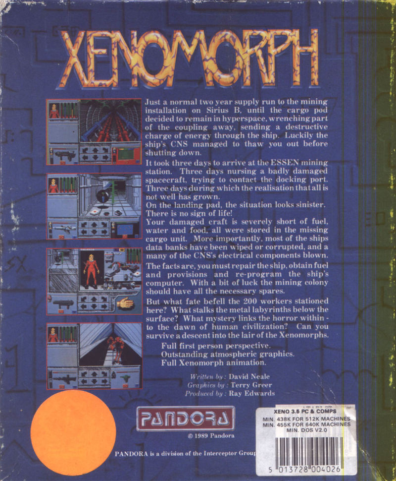 Xenomorph DOS Back Cover