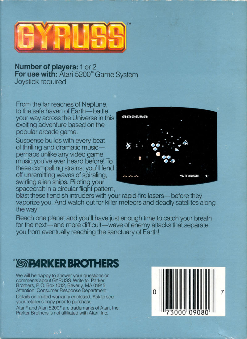 Gyruss Atari 5200 Back Cover