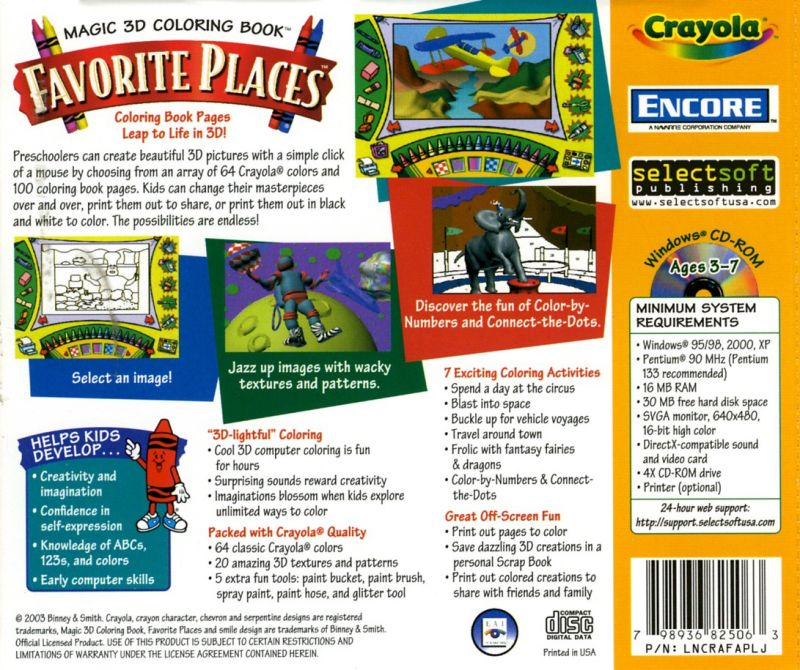 Crayola Magic 3D Colouring Book: Favourite Places (1999) Windows box ...