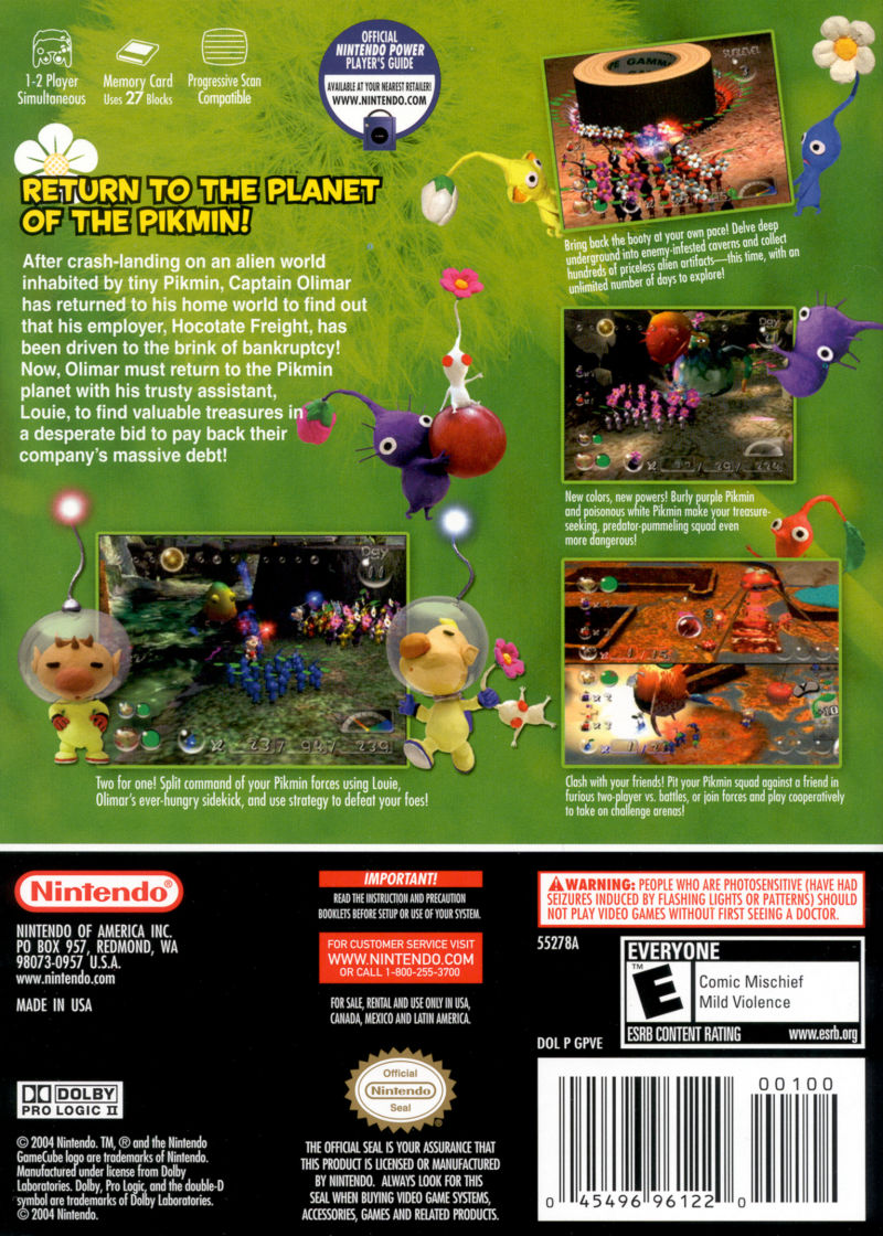 Pikmin 2 GameCube Back Cover
