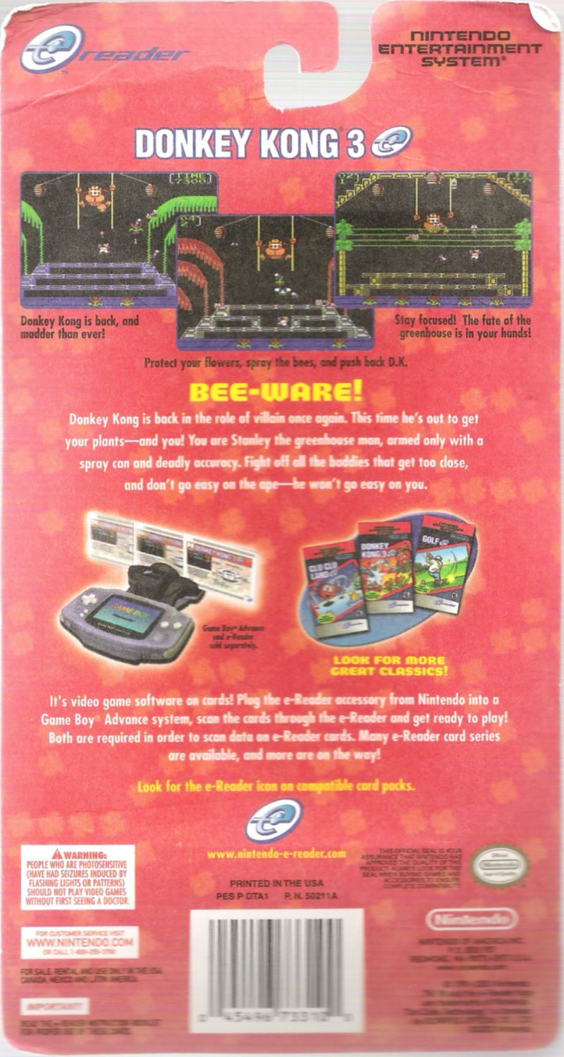 Donkey Kong 3 Game Boy Advance Back Cover