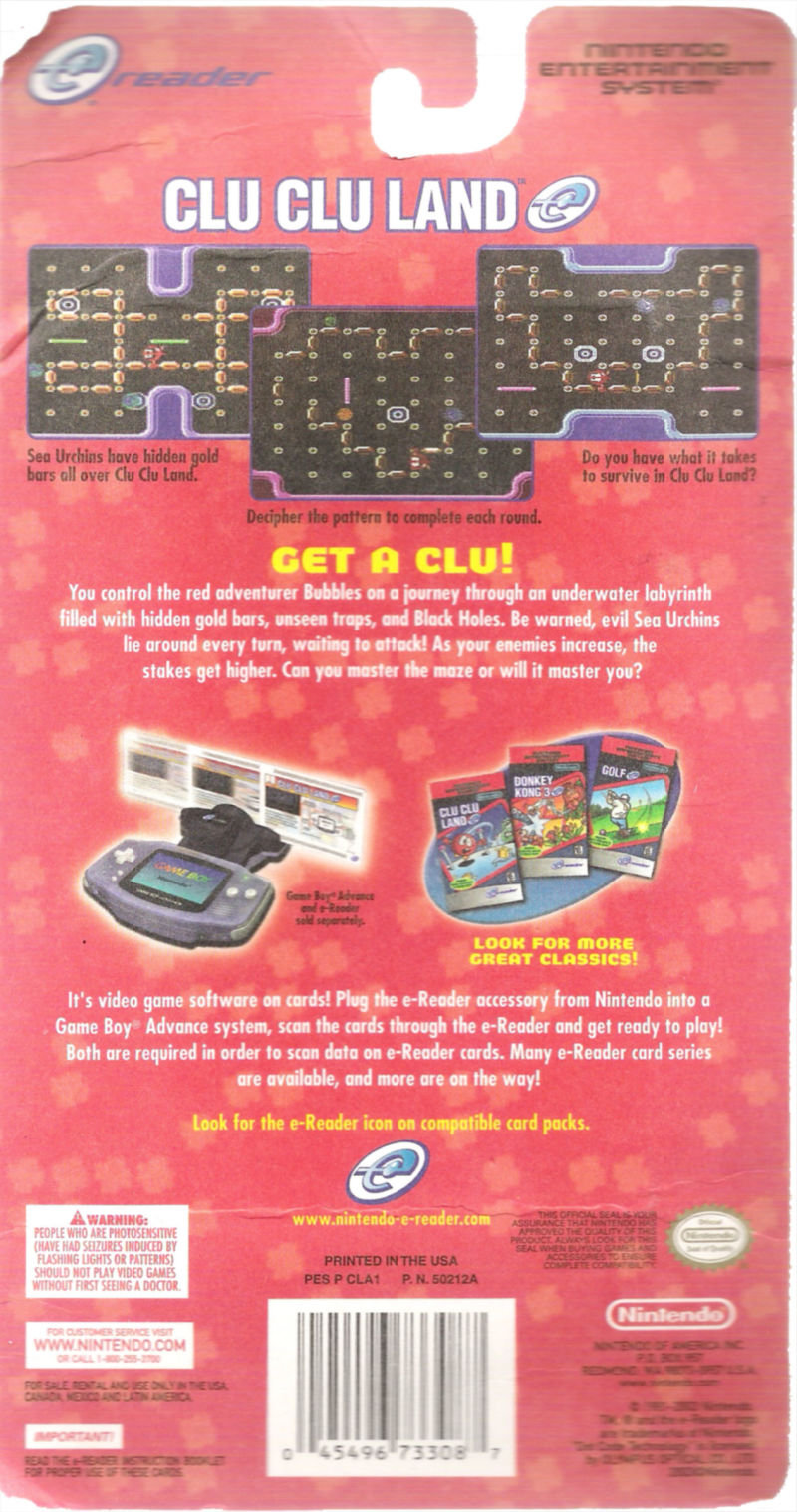 Clu Clu Land Game Boy Advance Back Cover