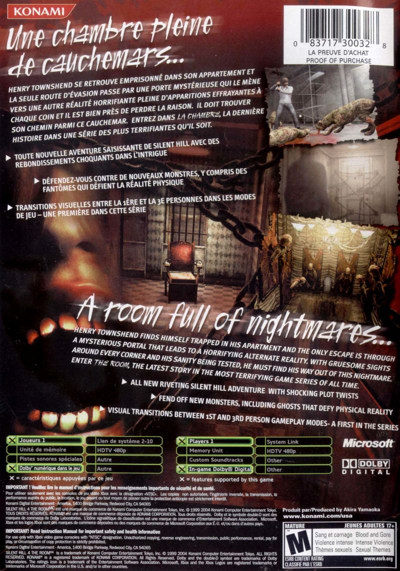 Silent Hill 4 The Room 2004 Xbox Box Cover Art Mobygames