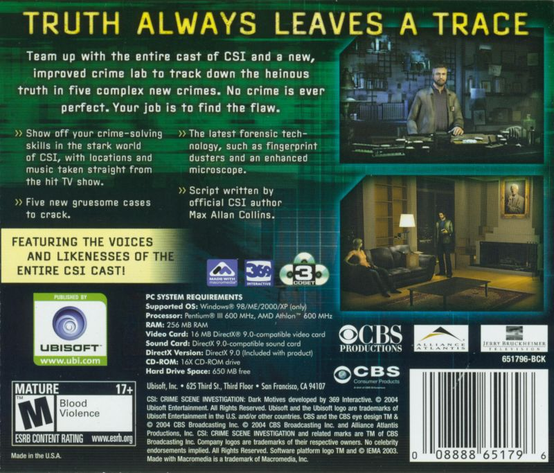 CSI: Crime Scene Investigation - Dark Motives Windows Other Jewel Case - Back