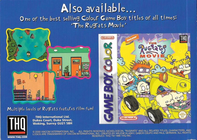 rugrats time travelers 1999 game boy color box cover art mobygames rh mobygames com game boy advance sp manual game boy advance manual pdf