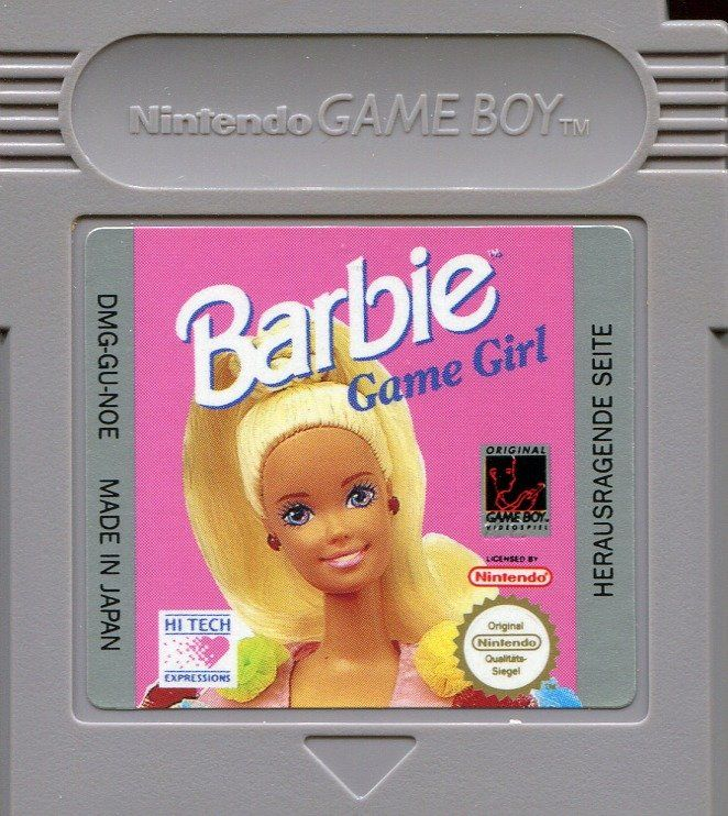 barbie game girl 1992 game boy box cover art mobygames