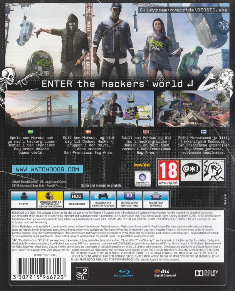 Watch Dogs 2 San Francisco Edition 2016 Playstation 4 Box Cover Sony Ps4 Game Other Keep Case Back