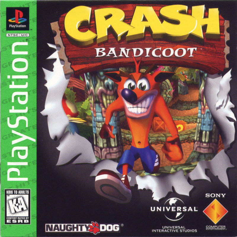 Crash Bandicoot PlayStation Front Cover also Manual Front