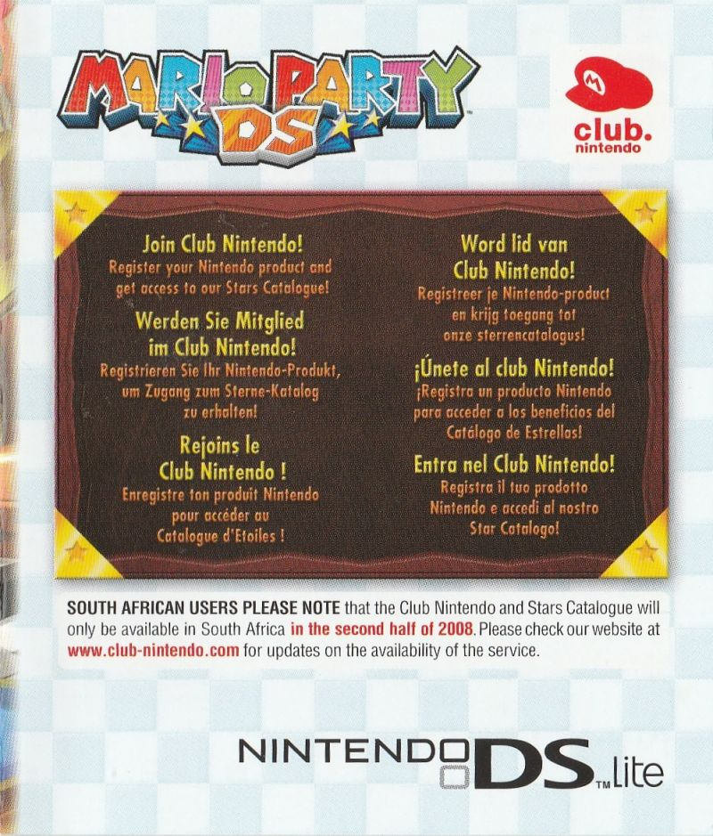 Mario Party DS Nintendo DS Extras Club Nintendo PIN - Front