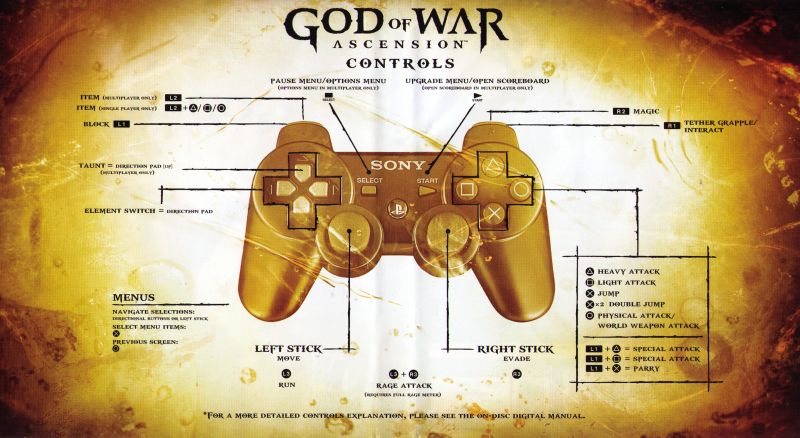God of War: Ascension PlayStation 3 Inside Cover