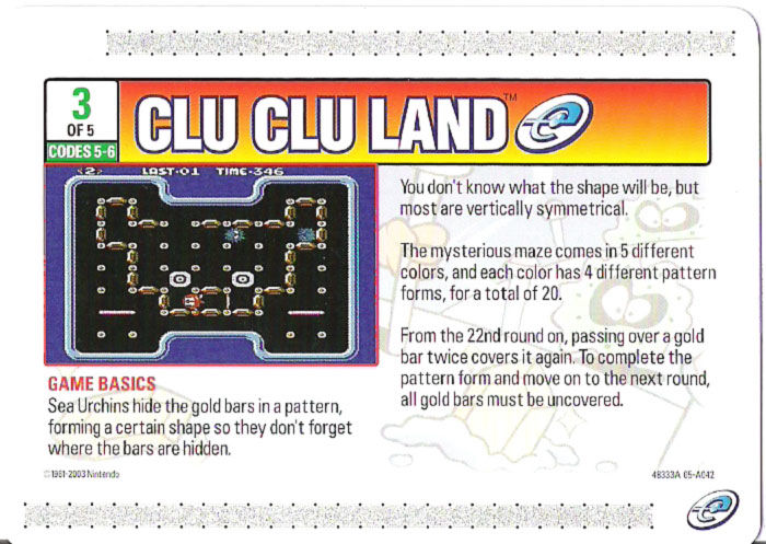 Clu Clu Land Game Boy Advance Media e-Card 3