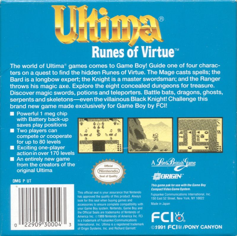 Ultima: Runes of Virtue Game Boy Back Cover