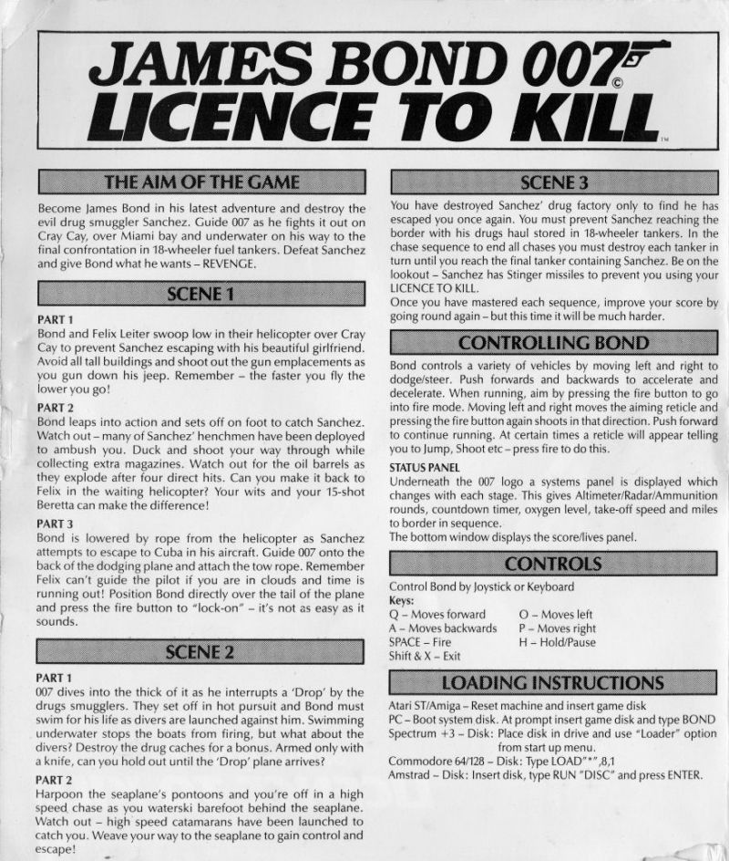 007: Licence to Kill Atari ST Inside Cover