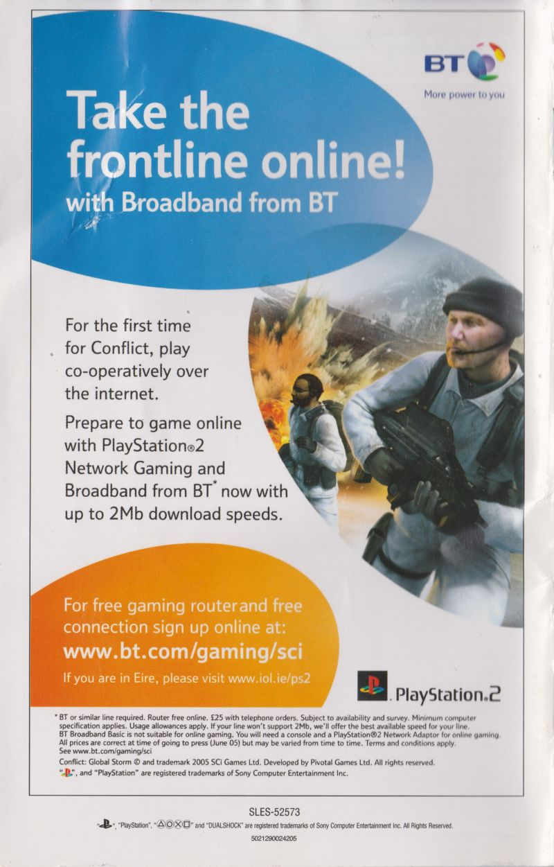 Conflict: Global Terror PlayStation 2 Manual Back