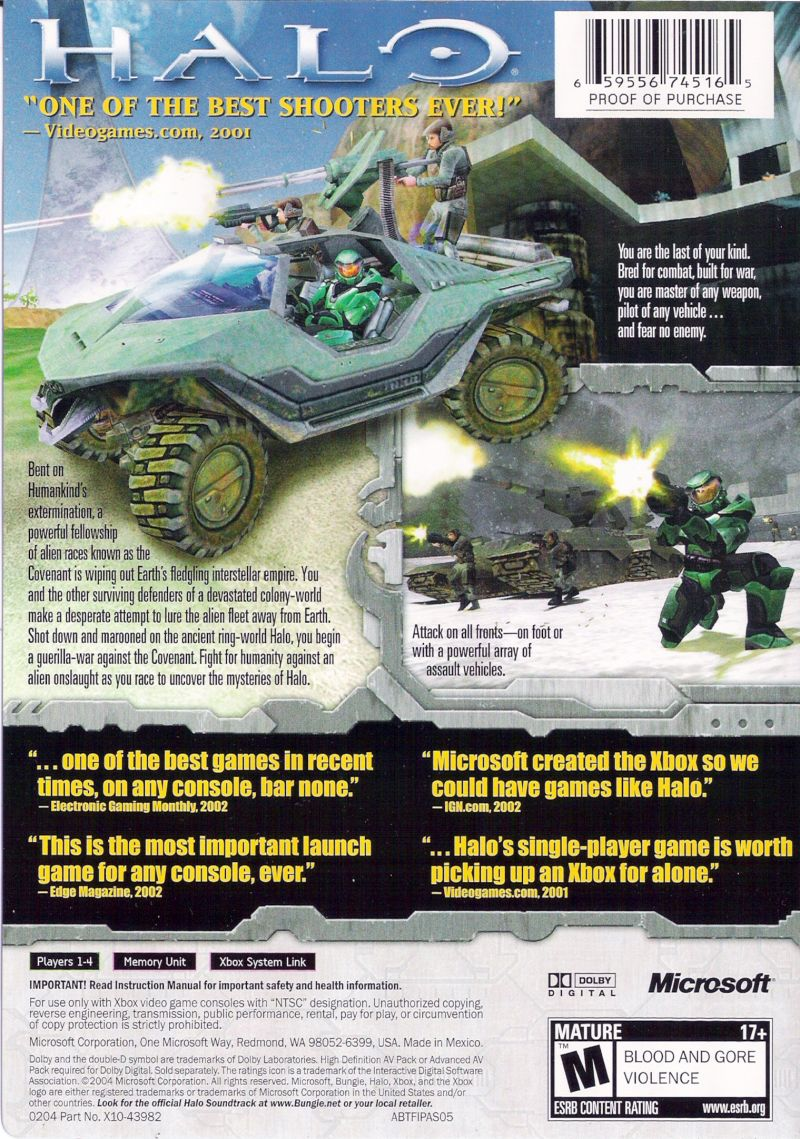 Halo: Combat Evolved Xbox Back Cover
