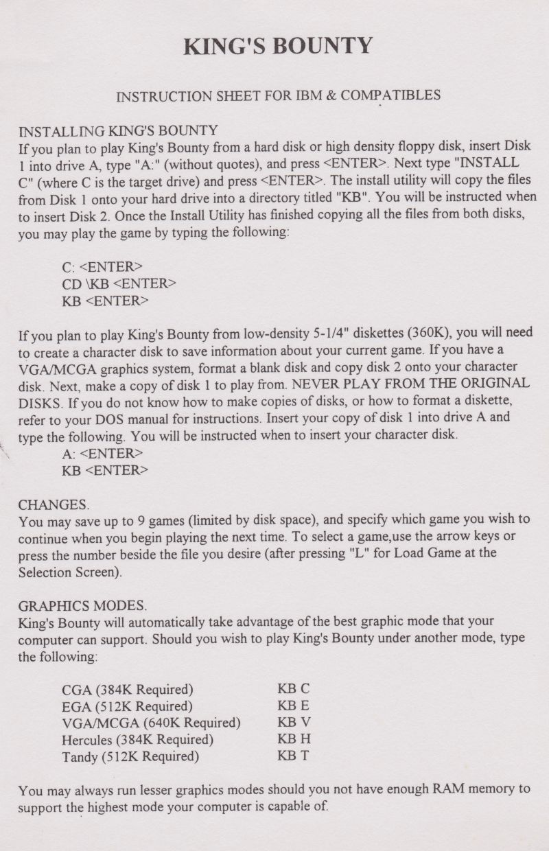 King's Bounty DOS Extras Instruction Sheet