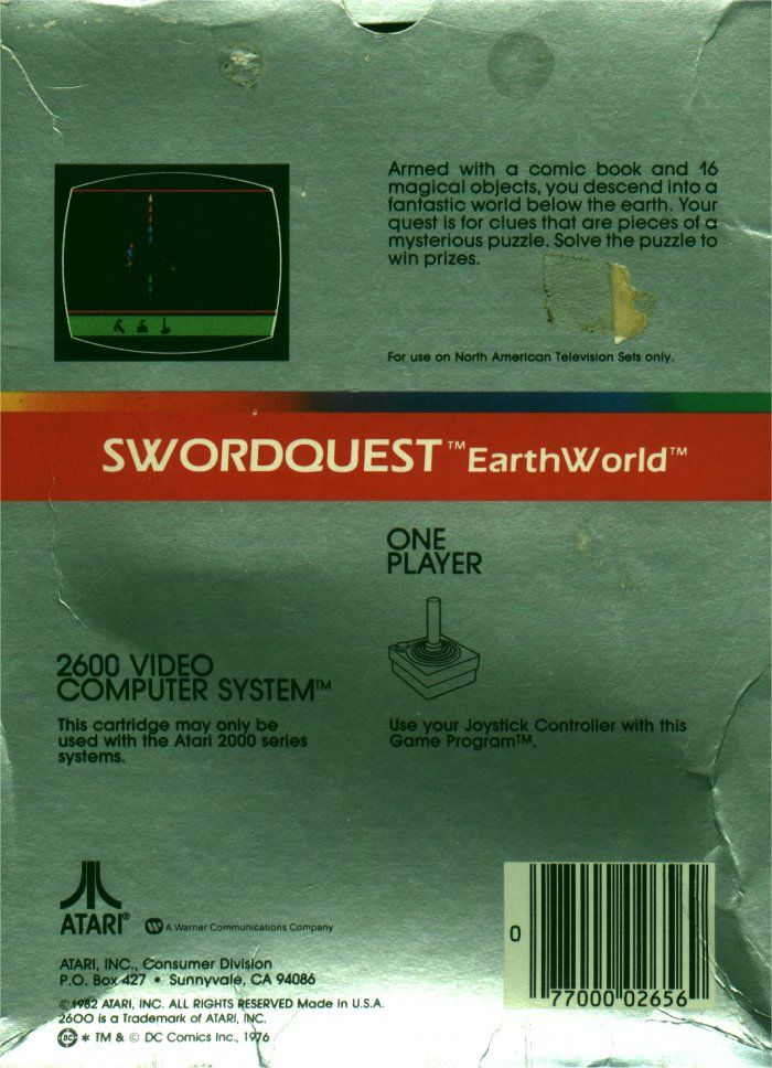 SwordQuest: EarthWorld Atari 2600 Back Cover