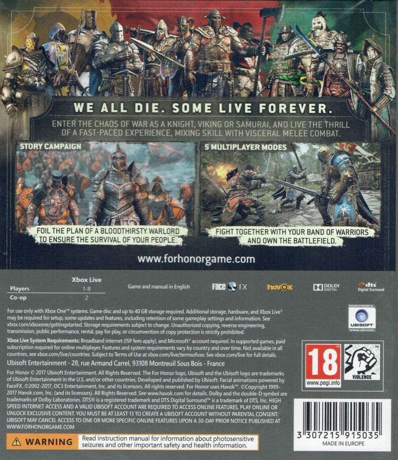 Xbox One Game Cover Back For Honor (2017) Xbox ...