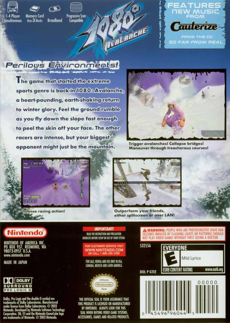 1080° Avalanche GameCube Back Cover