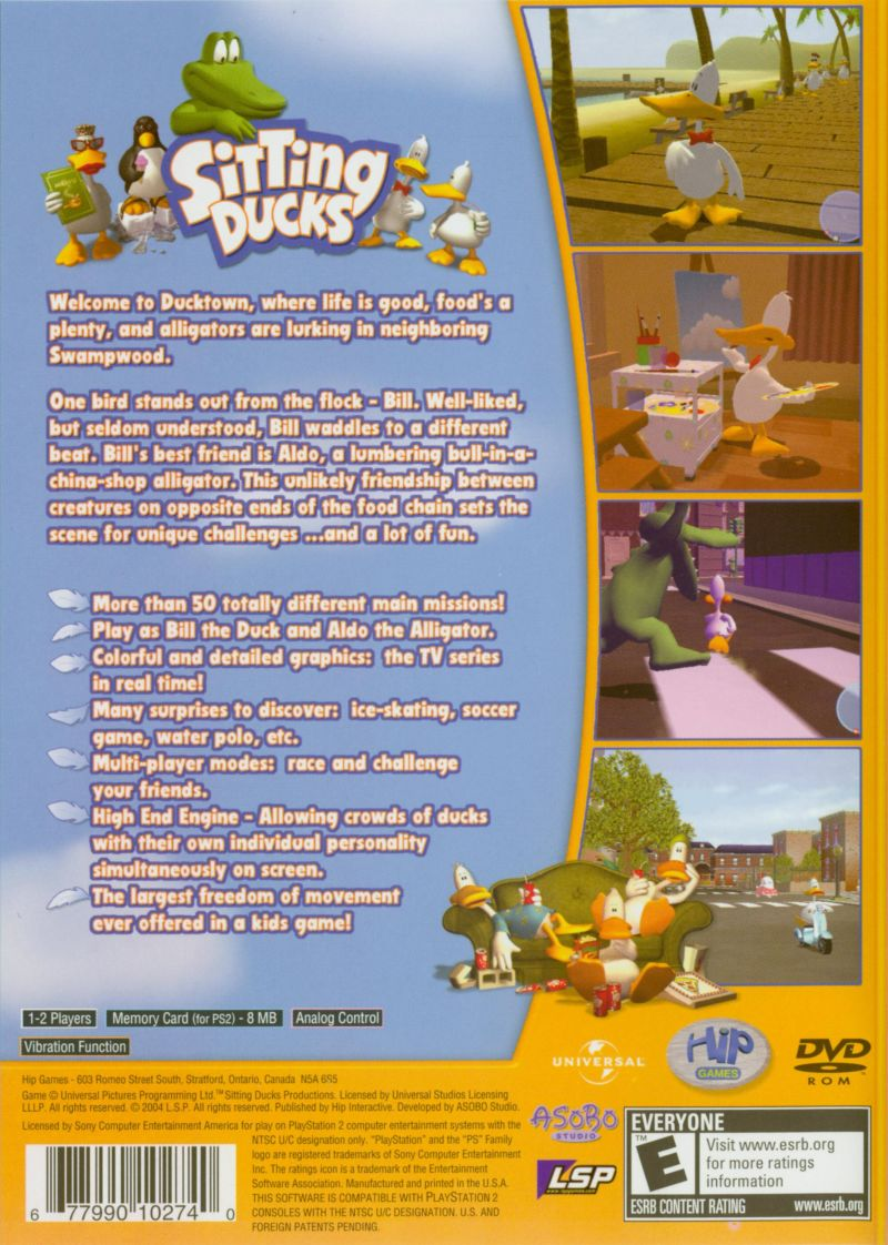 Sitting Ducks PlayStation 2 Back Cover